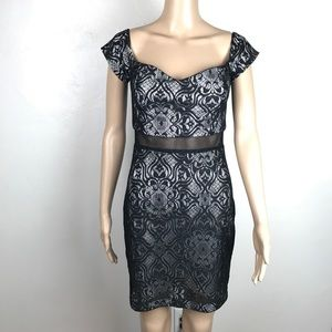 Guess black lace cut out midi dress w/cap sleeves